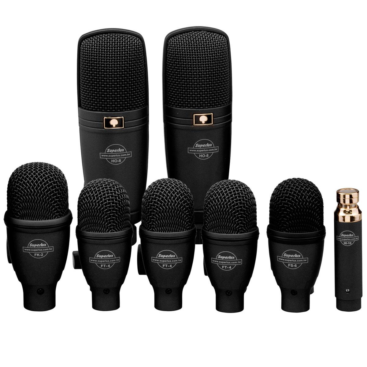 DRKF5H3 - Kit 8 Microfones c/ Fio p/ Instrumentos DRK F5 H3 - Superlux