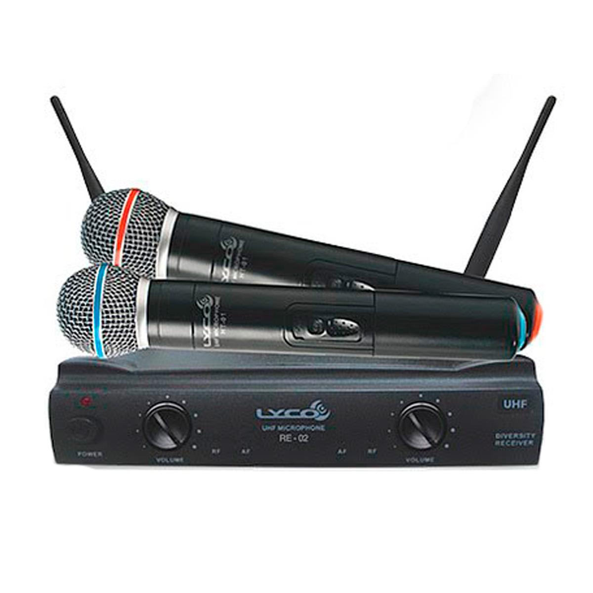 UH02MM - Microfone s/ Fio de Mão Duplo UHF UH 02 MM - Lyco