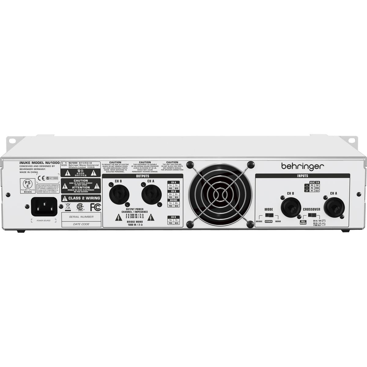 Amplificador Estéreo 2 Canais 1000W c/ Crossover NU 1000 - Behringer