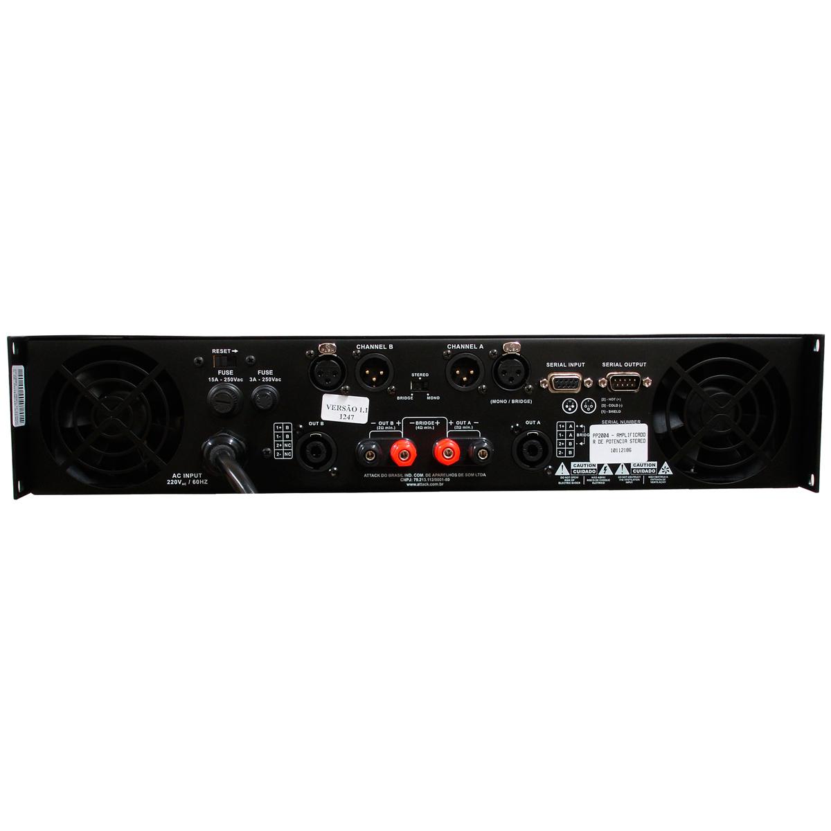 PP2004 - Amplificador Estéreo 2 Canais 2000W PP 2004 - Attack