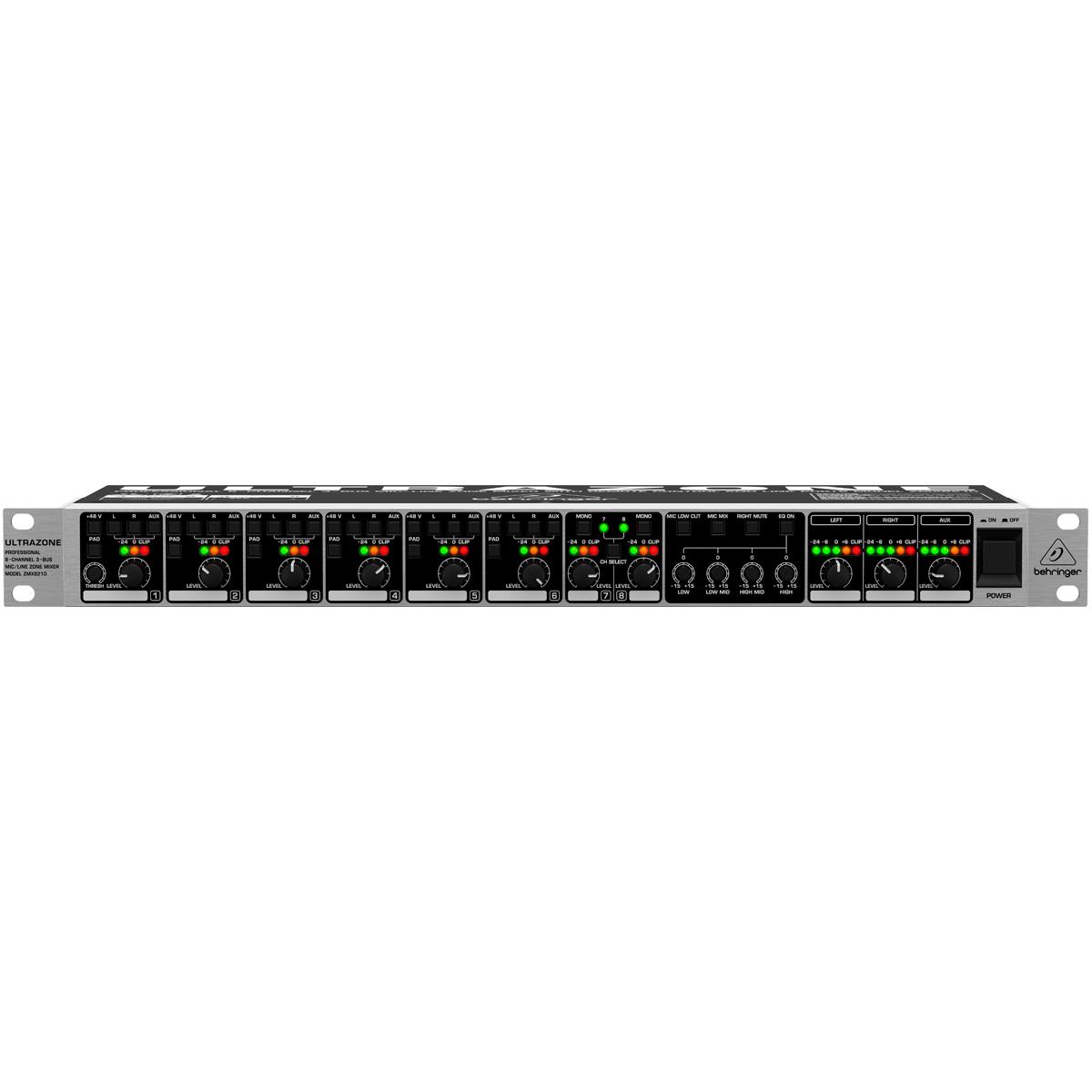 ZMX8210 - Mesa de Som / Mixer 8 Canais Ultrazone ZMX 8210 - Behringer