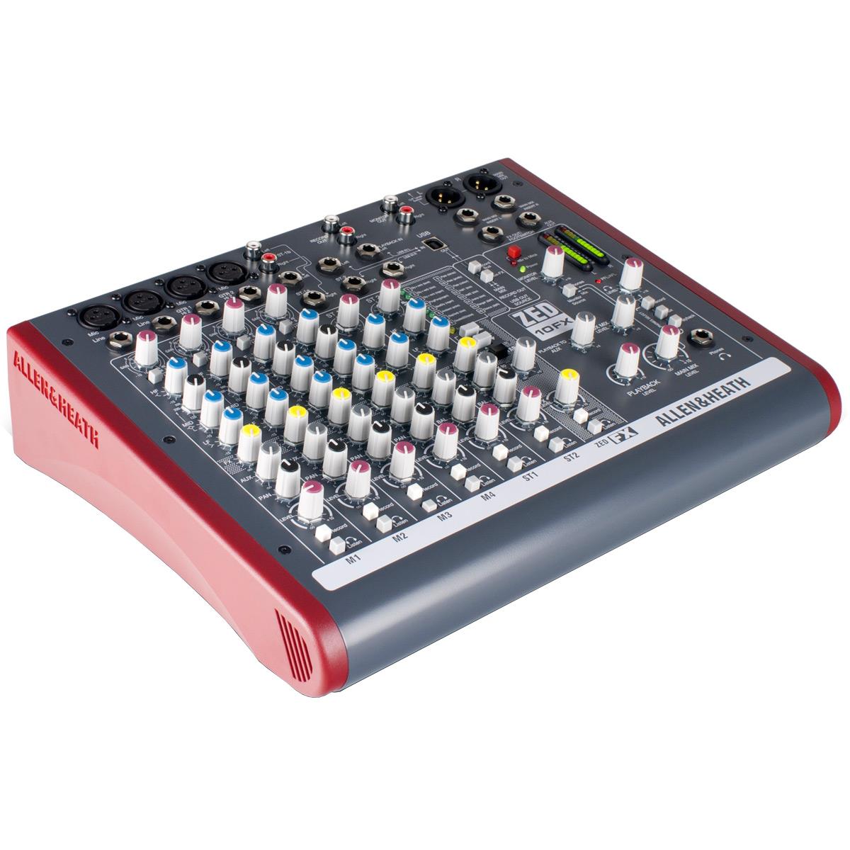 Mesa de Som 6 Canais Balanceados (4 XLR + 2 P10) c/ USB / Efeito / Phantom / 2 Auxiliares - ZED 10 FX Allen Heath