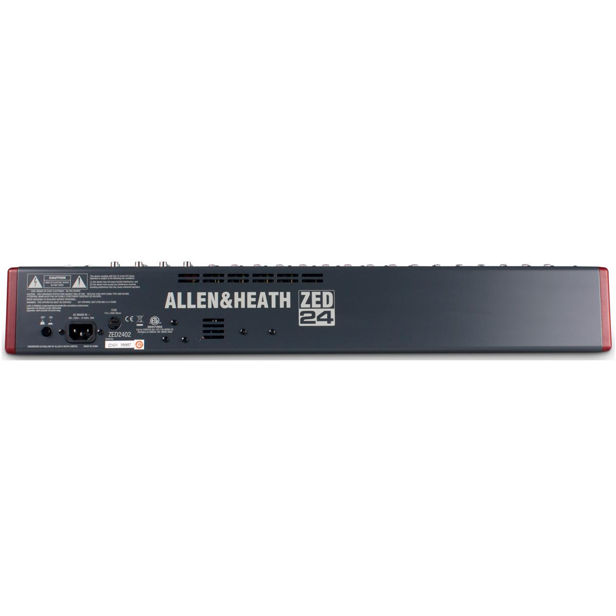 Mesa de Som 24 Canais Balanceados (16 XLR + 8 P10) c/ USB / 4 Auxiliares - ZED 24 Allen Heath