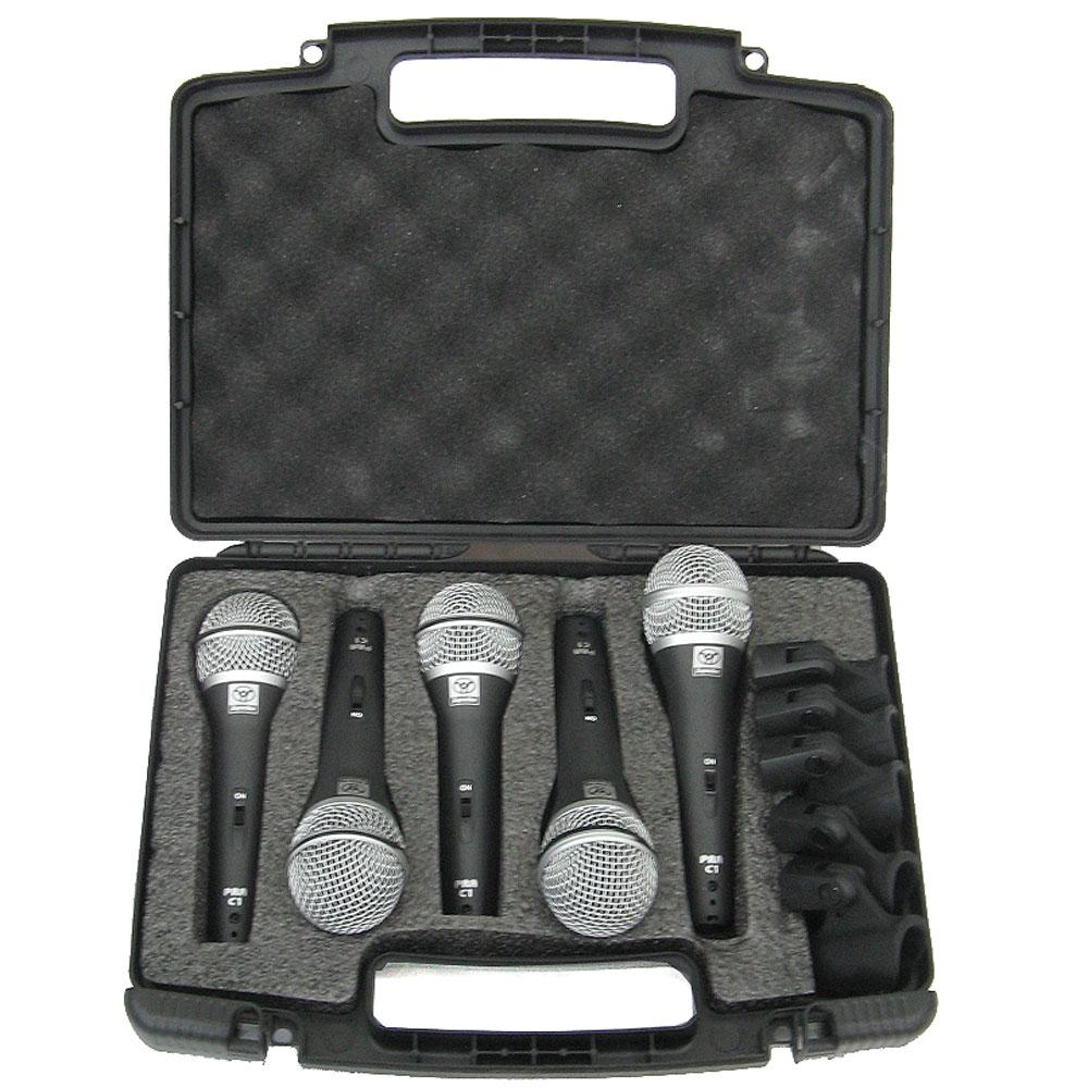 Kit 5 Microfones c/ Fio de Mão PRA-C5 Superlux