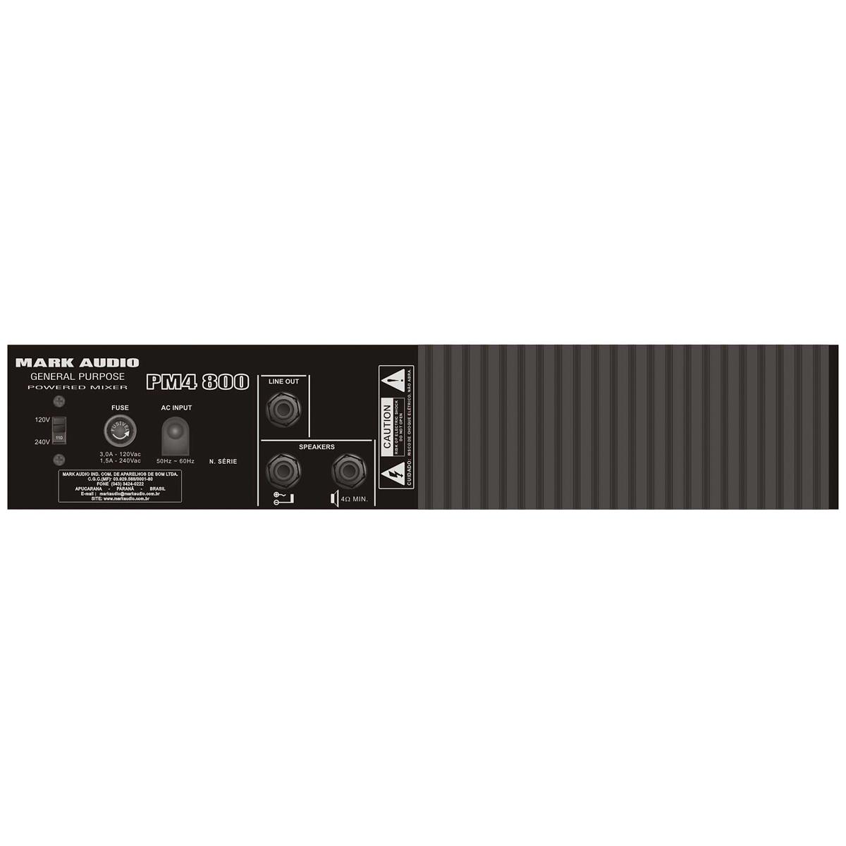 PM4800 - Cabe�ote Multiuso 4 Canais PM4 800 Mark Audio