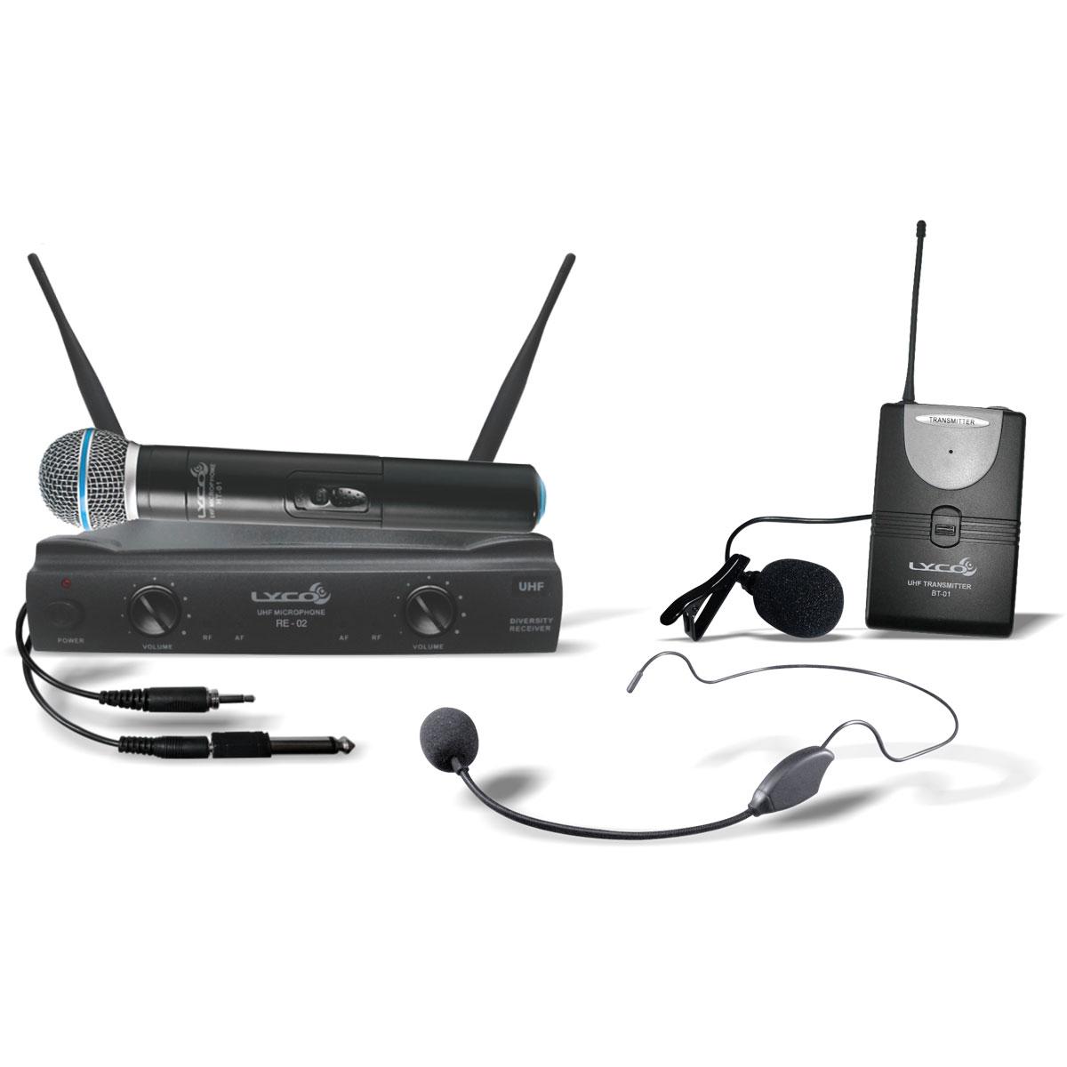 UH02MHLI - Microfone s/ Fio Mão, Headset, Lapela e Instrumento UH 02 MHLI - Lyco