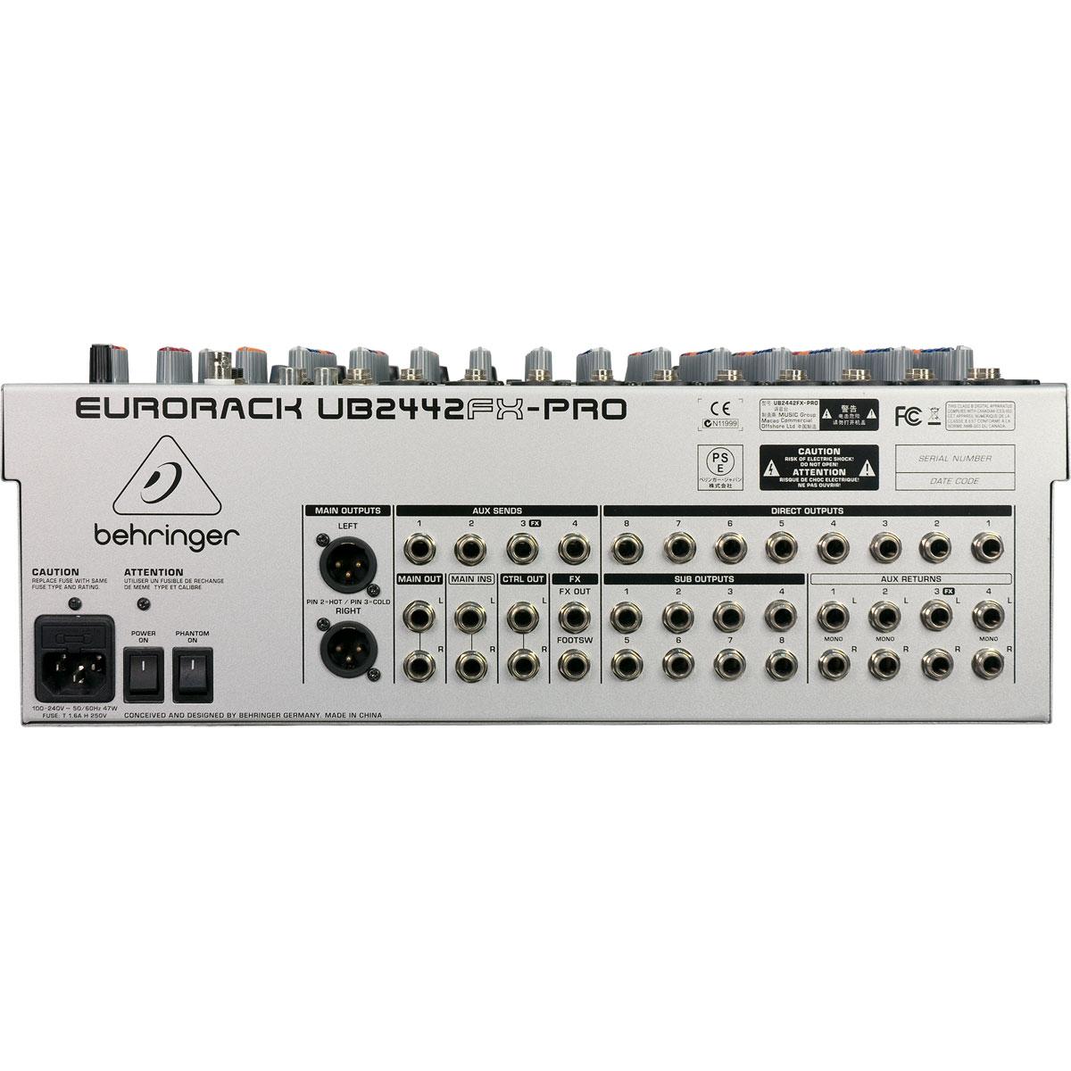 UB2442FXPRO - Mesa de Som / Mixer 24 Canais Eurorack UB 2442 FX PRO - Behringer