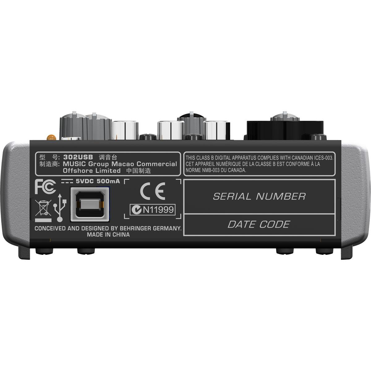 Mesa de Som 1 Canal Balanceado (XLR ou P10) c/ USB / Phantom - Xenyx 302 USB Behringer