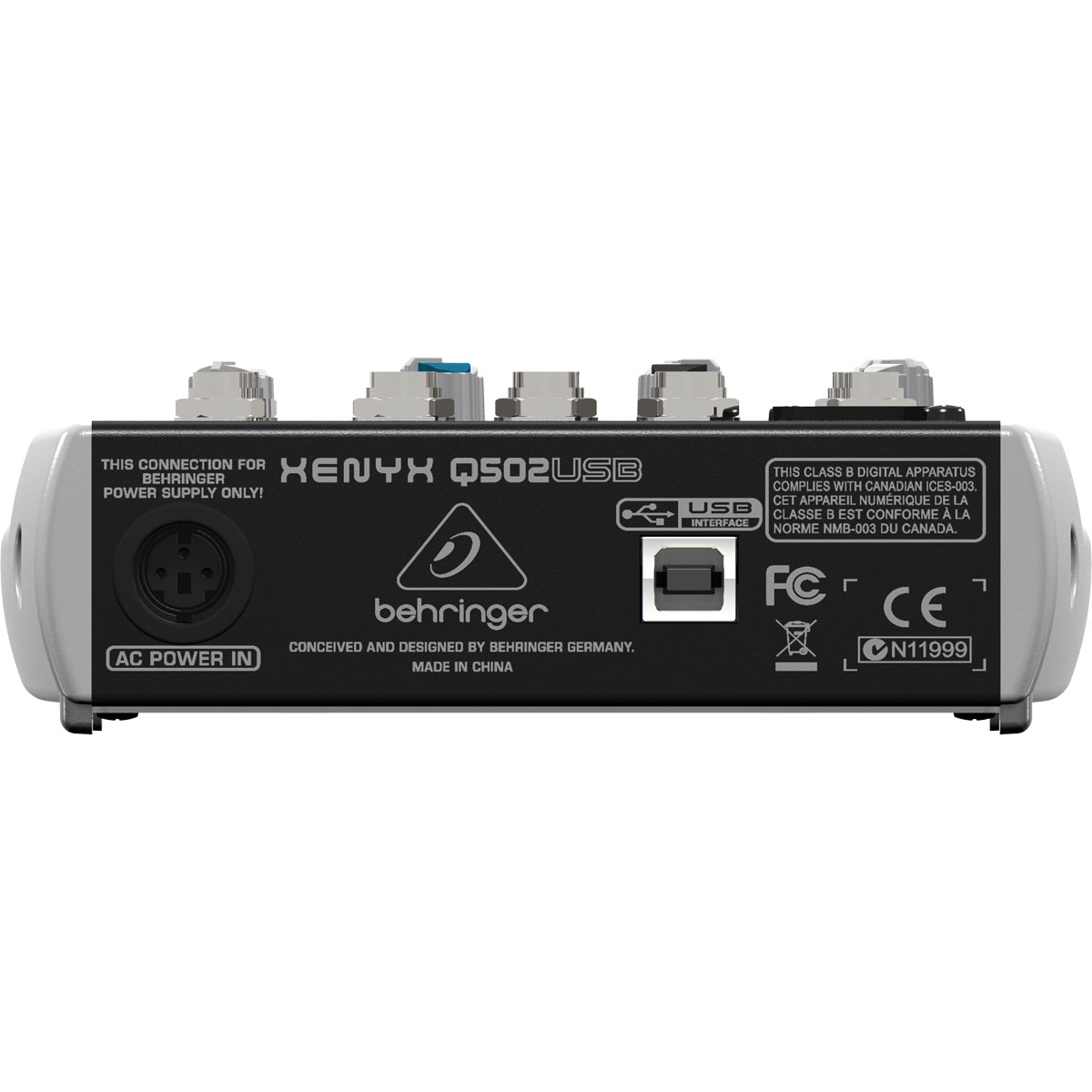 Mesa de Som 5 Canais Balanceados (1 XLR + 4 P10) c/ USB / Phantom / 1 Auxiliar - Xenyx Q 502 USB Behringer