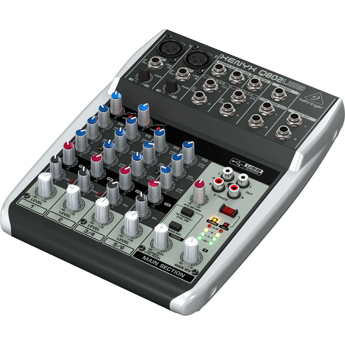 Mesa de Som 8 Canais Balanceados (2 XLR + 6 P10) c/ USB / Phantom / 1 Auxiliar - Xenyx Q 802 USB Behringer