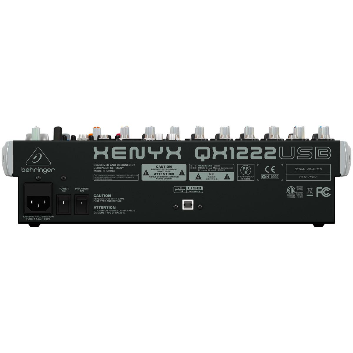 Mesa de Som 12 Canais (6 XLR + 2 P10 Balanceados + 4 P10 Desbalanceados) c/ USB / Efeito / Phantom / 2 Auxiliares - Xenyx QX 1222 USB Behringer