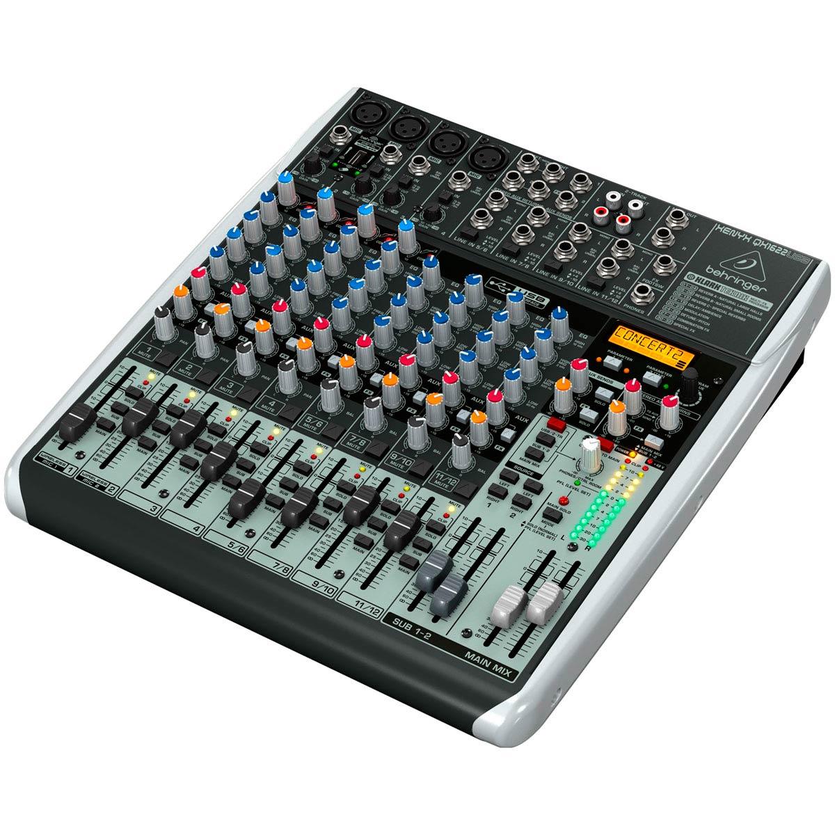 Mesa de Som 16 Canais Balanceados (4 XLR + 12 P10) c/ USB / Efeito / Phantom / 2 Auxiliares - Xenyx QX 1622 USB Behringer
