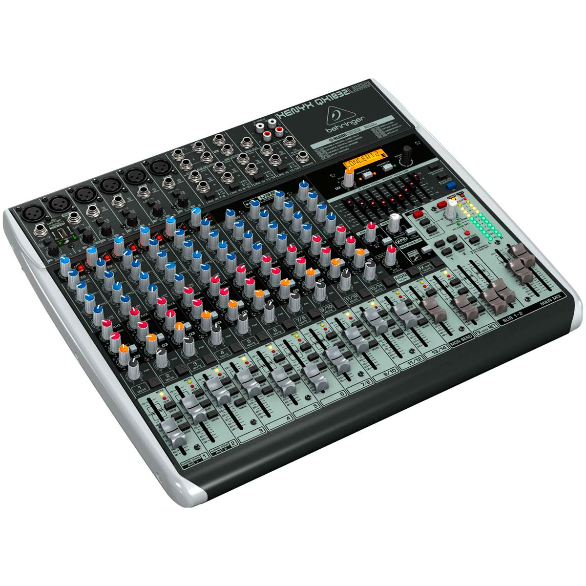 Mesa de Som 18 Canais Balanceados (6 XLR + 12 P10) c/ USB / Efeito / Phantom / 3 Auxiliares - Xenyx QX 1832 USB Behringer