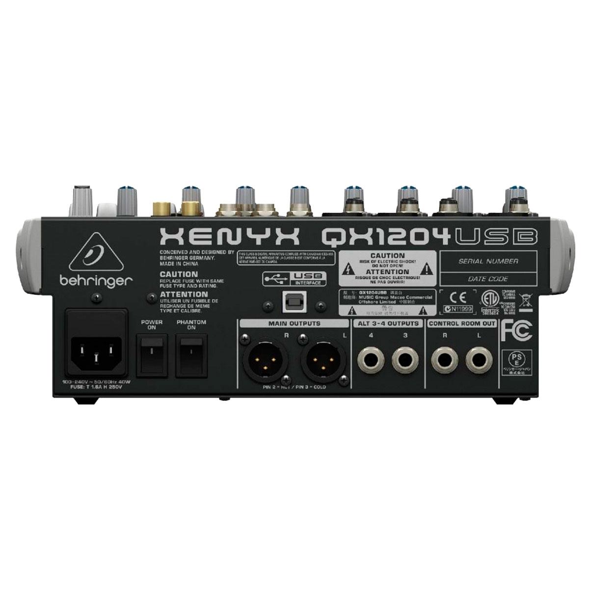 Mesa de Som 12 Canais Balanceados (4 XLR + 8 P10) c/ USB / Efeito / Phantom / 2 Auxiliares -Xenyx QX 1204 USB Behringer