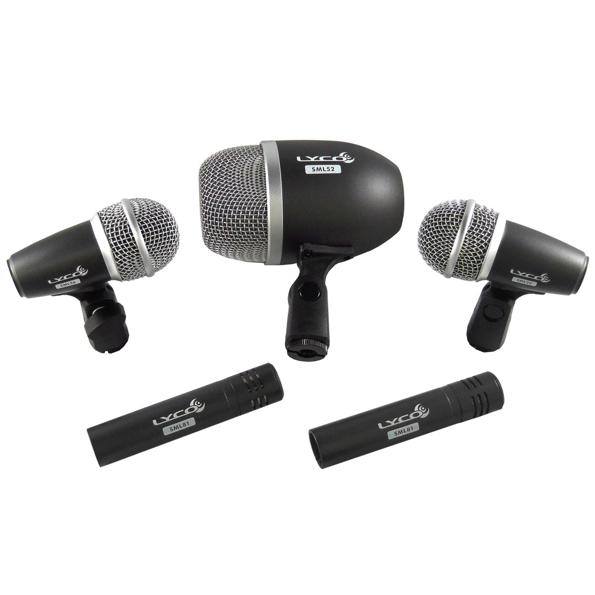 LDK5PRO - Kit 5 Microfones c/ Fio p/ Bateria LDK 5 PRO - Lyco