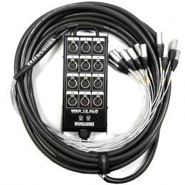 Multicabo Completo 12 Vias XLR ( Balanceado ) c/ Trava 20 Metros - Wireconex