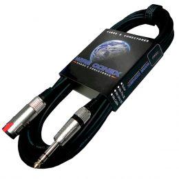 Cabo Emborrachado Extensor Fone 10mts P10 M / P10 F Estéreo c/ Trava - Wireconex