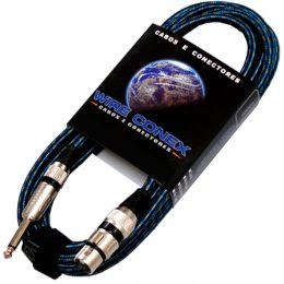 Cabo Têxtil p/ Microfone 10mts P10 M / XLR F - Wireconex