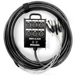 Multicabo Completo 6 Vias XLR ( Balanceado ) c/ Trava 10 Metros  - Wireconex