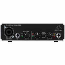 Interface de Áudio 2 IN x 2 OUT c/ USB U-Phoria UMC22 - Behringer
