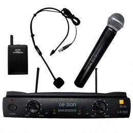 Microfone s/ Fio Dual Mão + Headset UHF LS-802 HT-HD75 - Le Son
