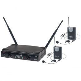 Microfone s/ Fio Duplo Headset, Lapela e Instrumento UHF UH-02HLIHLI - Lyco