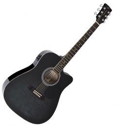 Violão Folk Cutaway Elétrico VCK370 Black Maple Flamed - Vogga