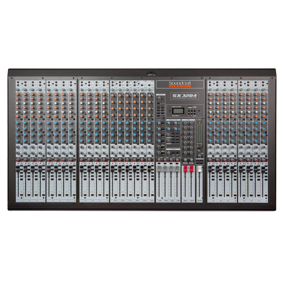 Mesa de Som 32 Canais Balanceados (26 XLR + 6 P10) c/ USB Play / Phantom / 6 Auxiliares - SX 3204 Soundcraft