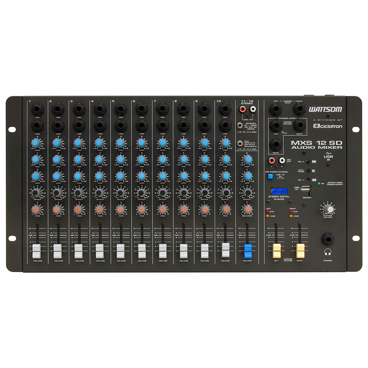Mesa de Som 12 Canais (10 P10 Desbalanceadas + RCA) c/ USB Play / 1 Auxiliar - MXS 12 SD Ciclotron