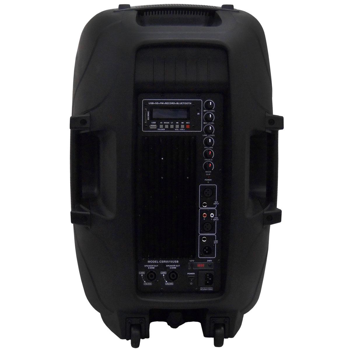 Caixa Ativa Fal 15 Pol 300W c/ USB / Bluetooth - CSR 5515 USB BT
