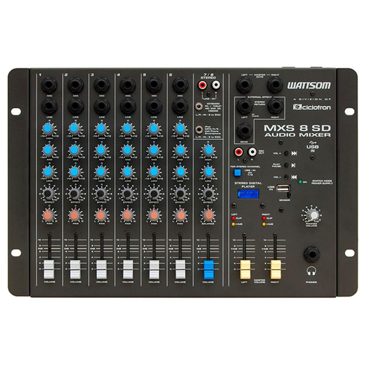 MXS8SD - Mesa de Som / Mixer 8 Canais USB MXS 8 SD - Ciclotron