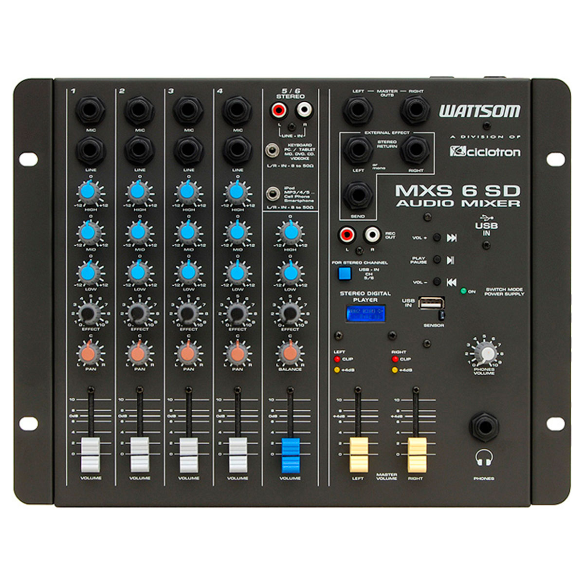 MXS6SD - Mesa de Som / Mixer 6 Canais USB MXS 6 SD - Ciclotron