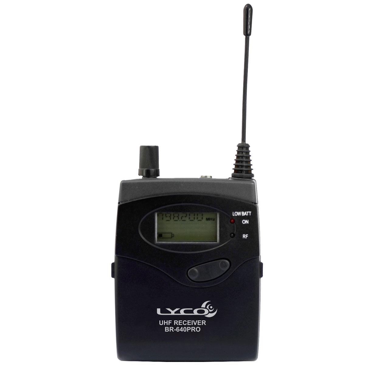 BR640PRO - Receptor de Bolso UHF c/ Fone p/ Ponto Eletrônico BR 640 PRO - Lyco