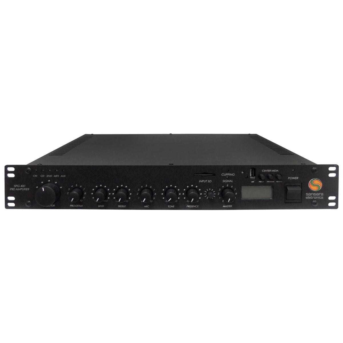 SPG400 - Pré Amplificador c/ USB / SD / AM/FM / Chamada e Gongo SPG 400 - Sansara