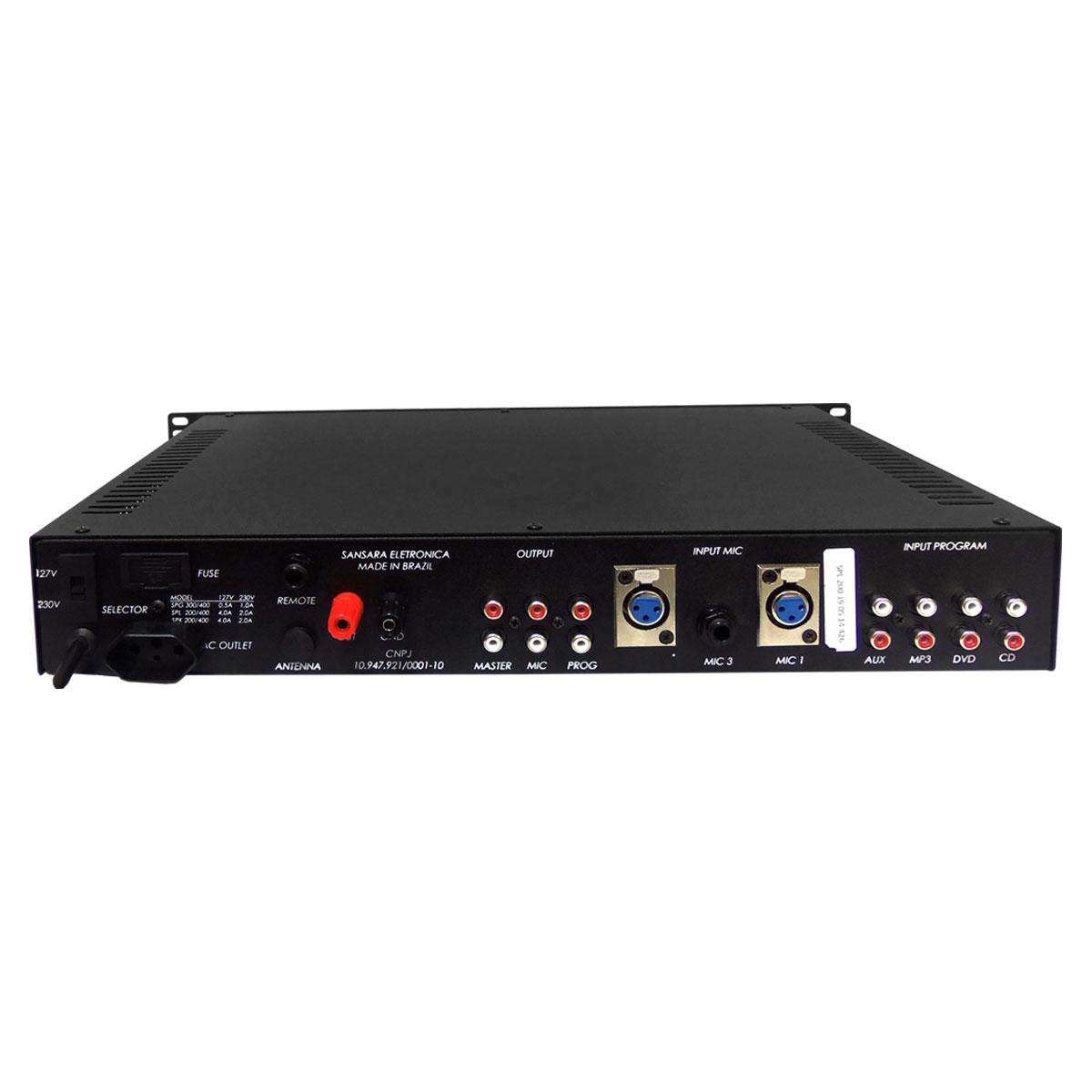 SPL200 - Pré Amplificador Integrado c/ Amplificador de Linha 70.7V 200W SPL 200 - Sansara