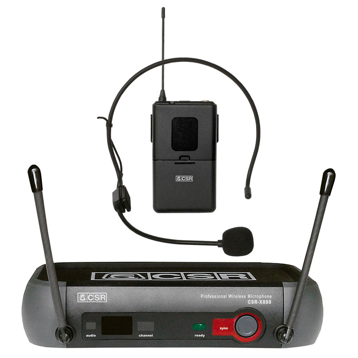 X888H - Microfone s/ Fio Headset / Cabeça UHF X 888 H - CSR