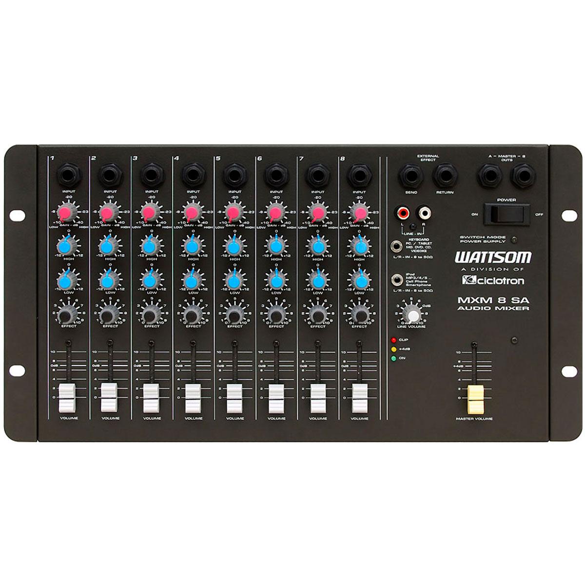 MXM8SA - Mesa de Som / Mixer 8 Canais MXM 8 SA - Ciclotron