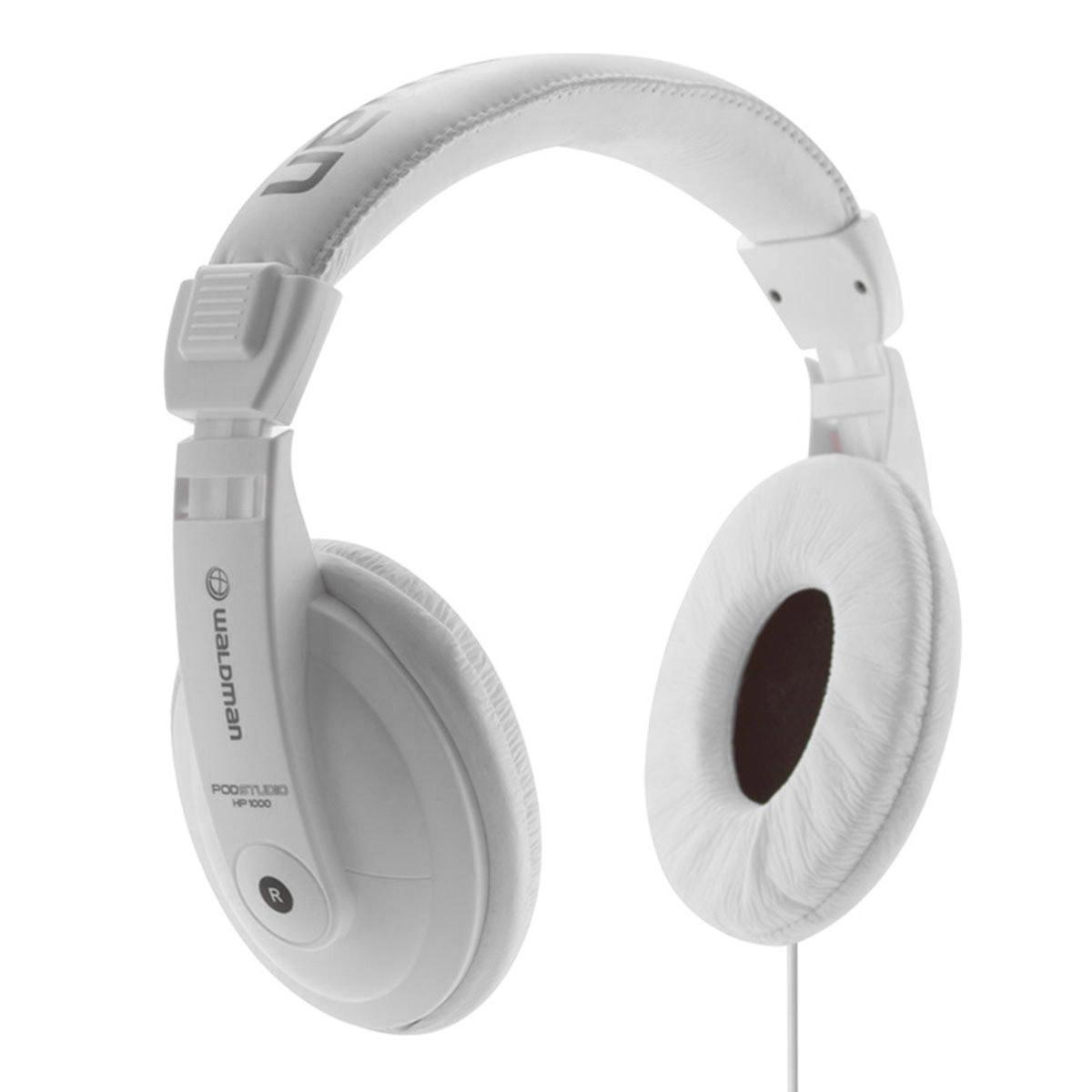 HP1000 - Fone de Ouvido Over-ear Branco PodStudio HP 1000 - Waldman