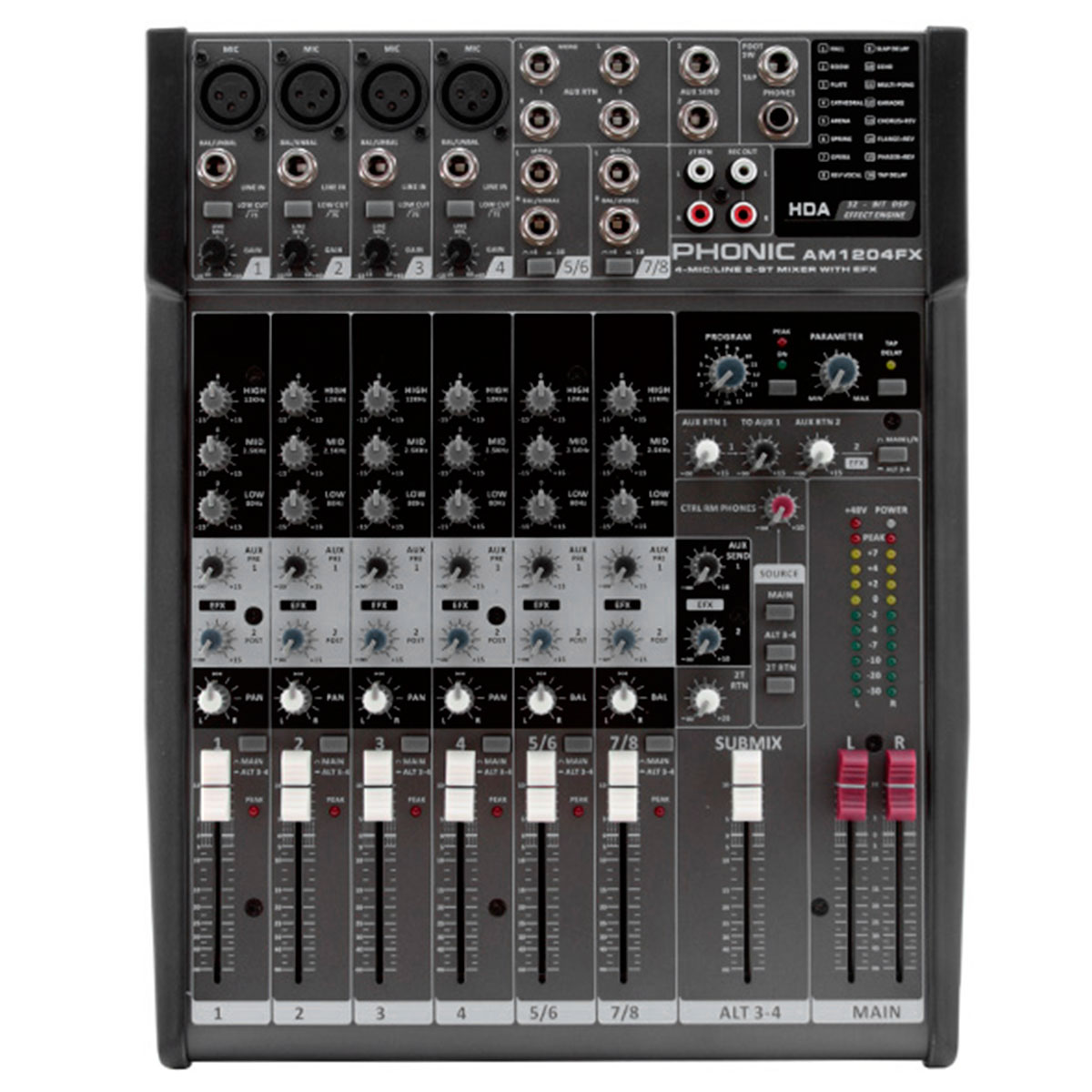 AM1204FX - Mesa de Som / Mixer 8 Canais AM 1204 FX - Phonic