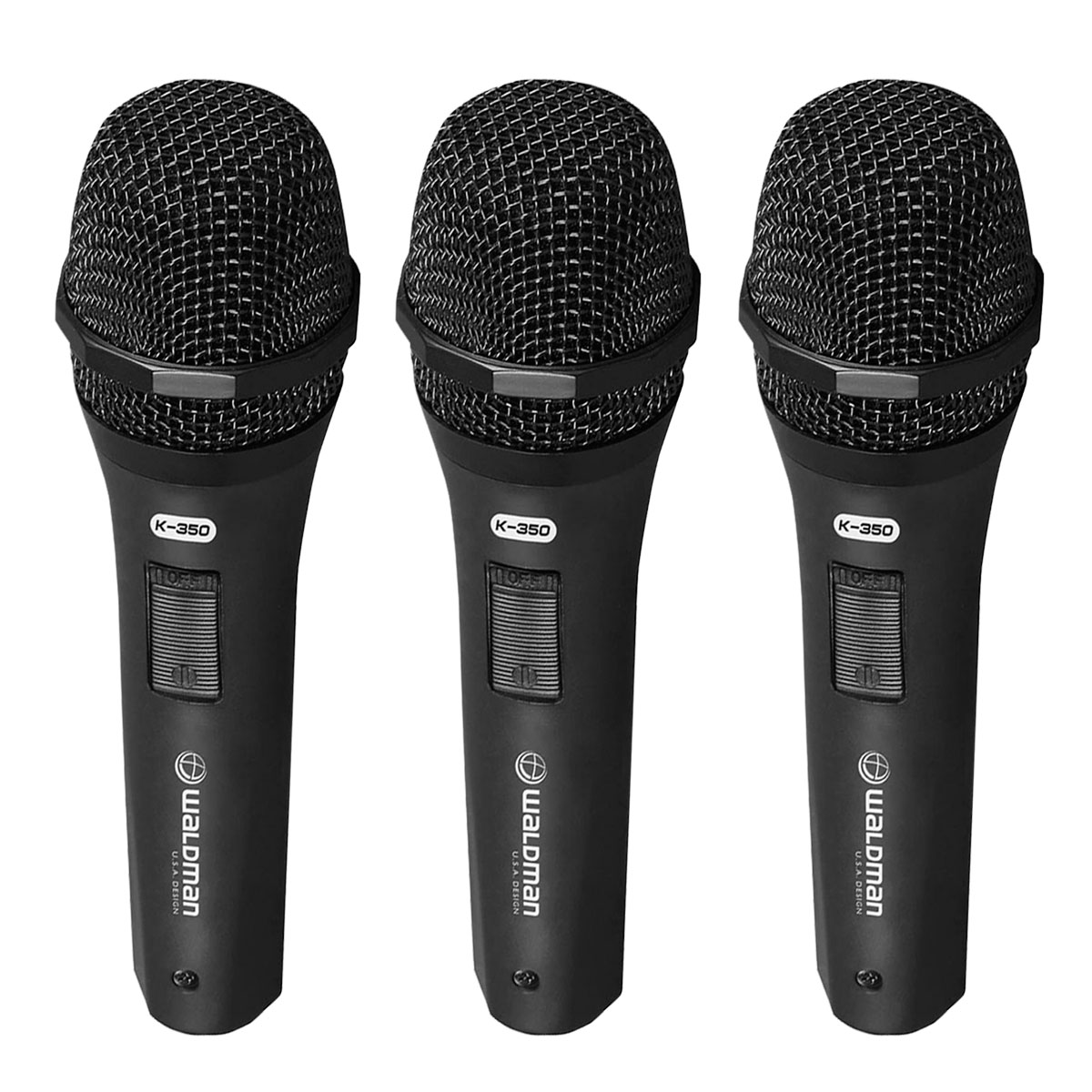 K3503PC - Kit 3 Microfones c/ Fio de Mão K 350 3 PC - Waldman
