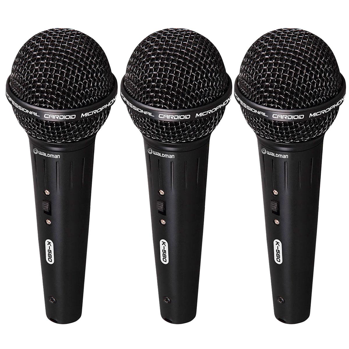 K580 - Kit 3 Microfones c/ Fio de Mão K 580 - Waldman