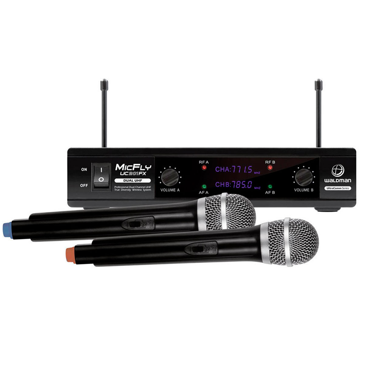 UC201FX - Microfone s/ Fio de M�o Duplo MicFly UC 201 FX - Waldman