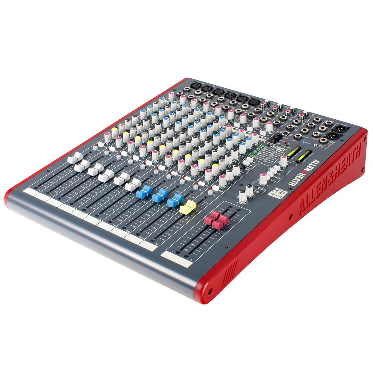 Mesa de Som 12 Canais Balanceados (6 XLR + 6 P10) c/ USB / Efeito / Phantom / 4 Auxiliares - ZED 12 FX Allen Heath