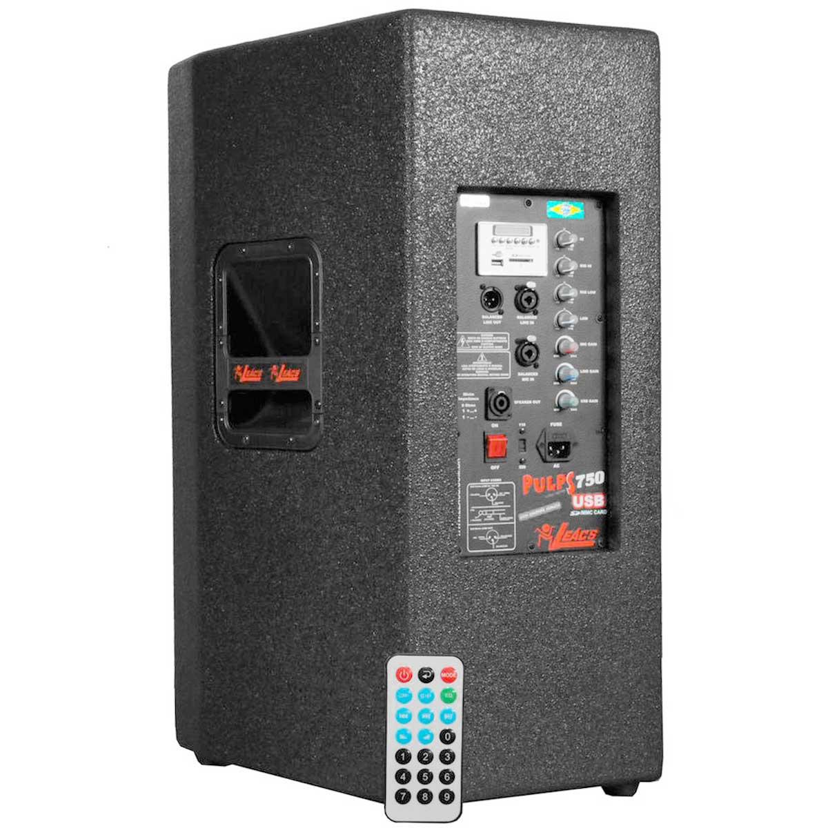 750A - Caixa Ativa 300W c/ Player USB Pulps 750 A - Leacs