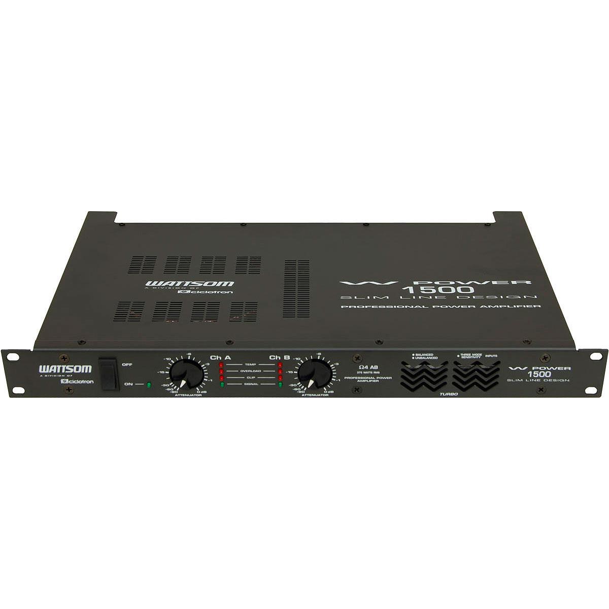 WPOWER1500 - Amplificador Estéreo 2 Canais 375W W POWER 1500 - Ciclotron