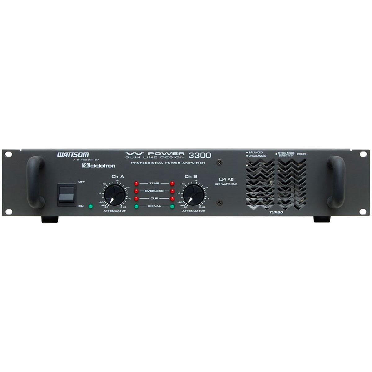 WPOWER3300 - Amplificador Estéreo 2 Canais 825W W POWER 3300 - Ciclotron
