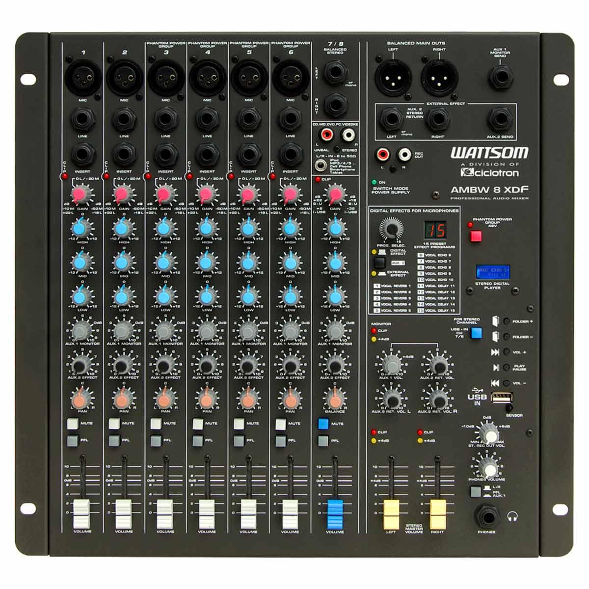 Mesa de Som 8 Canais Balanceados (6 XLR + 2 P10) c/ USB Play / Efeito / Phantom / 2 Auxiliares - AMBW 8 XDF Ciclotron