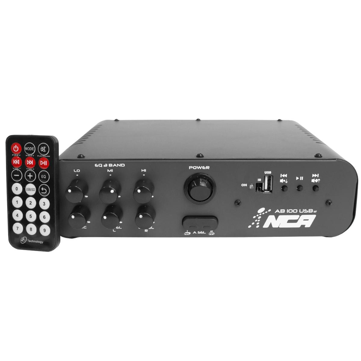 AB100USBST - Amplificador Som Ambiente Estéreo 100W AB 100 USB ST - NCA