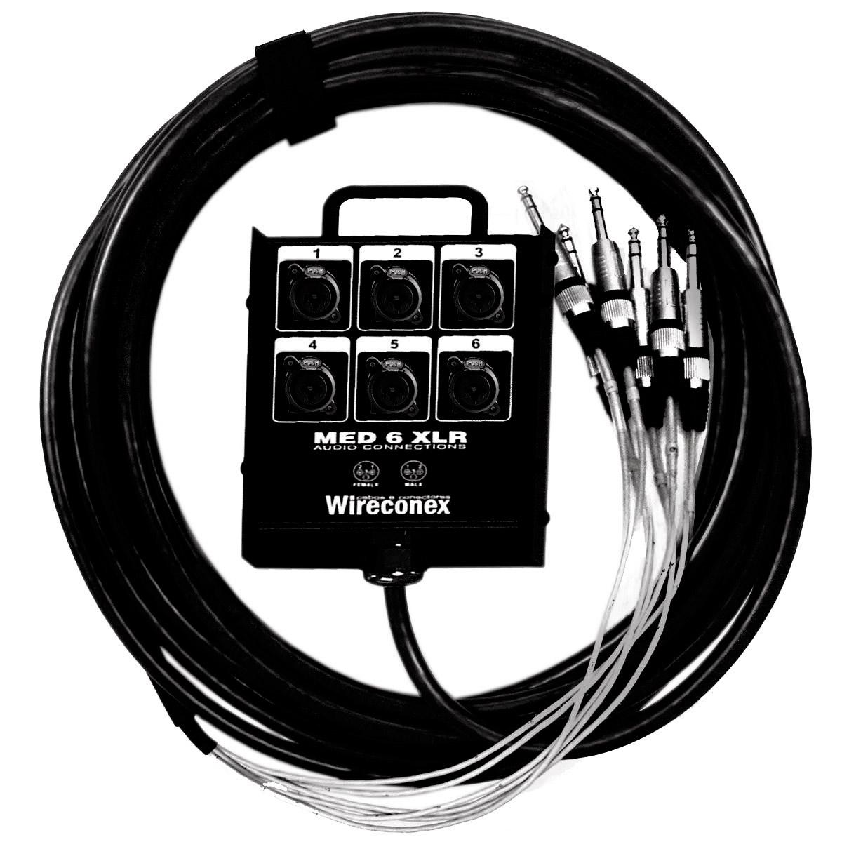 Multicabo Completo 06 Vias Combo XLR / P10 c/ Trava 15 Metros - VR CABOS
