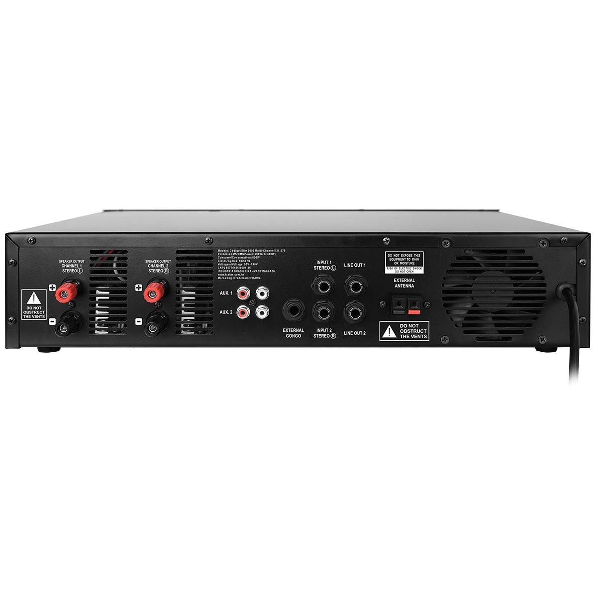 SLIM5000 - Amplificador Estéreo USB 600W SLIM 5000 - Frahm